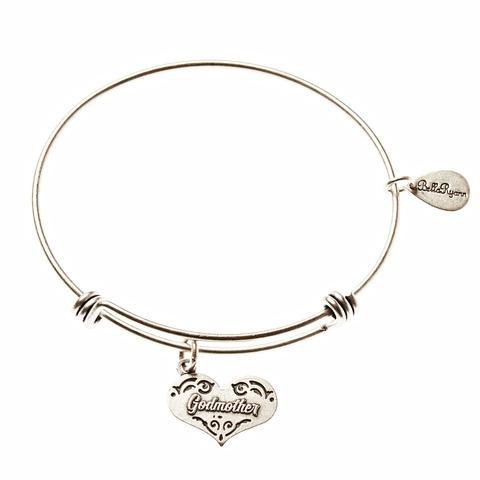 Silver Bangle with Godmother Charm