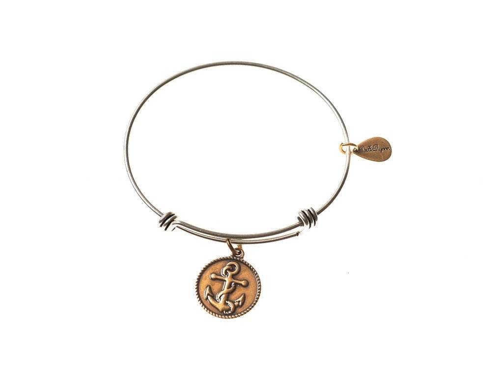 Silver Bangle with Gold Anchor Charm