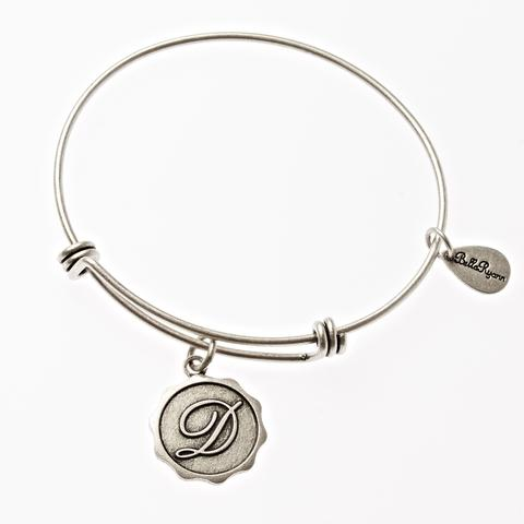 Silver Bangle with Letter D  Charm