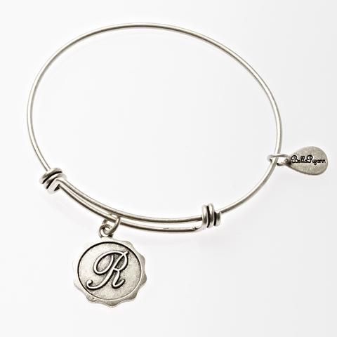 Silver Bangle with Letter R  Charm