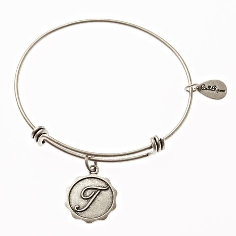 Silver Bangle with Letter T  Charm
