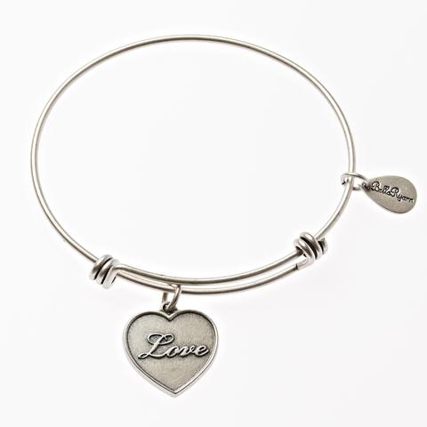 Silver Bangle with Love Charm
