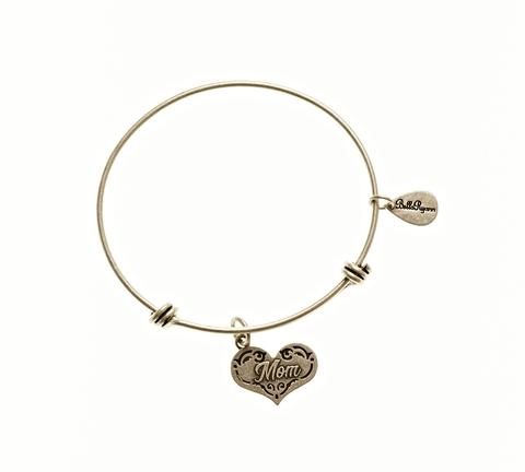 Silver Bangle with Mom Charm