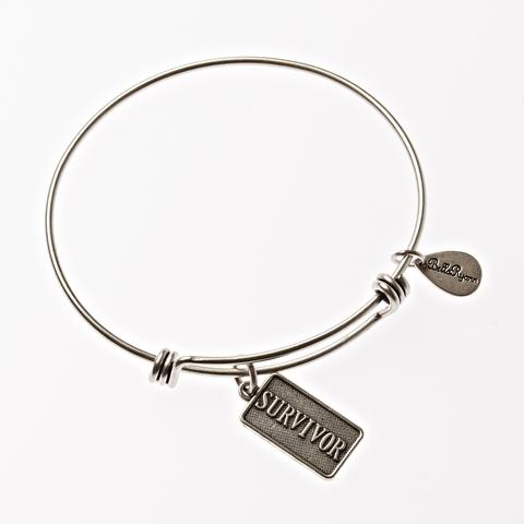 Silver Bangle with Survivor Charm