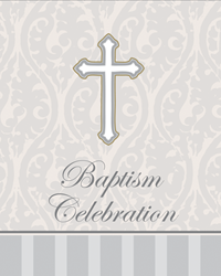 Silver Cross Baptism Invitation 8/pkg