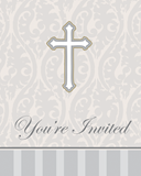 Silver Cross Invitation 8/pkg