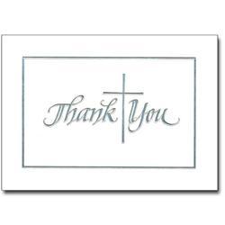 Silver Cross Thank You Notes with Envelopes, 12/PK