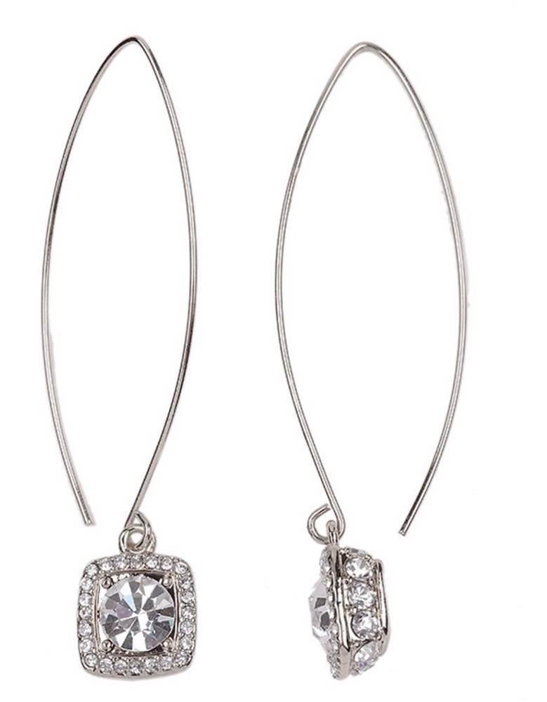 Silver Hoop Earrings With Rhinestone Earrings, Silver, Rhinestone, Hoop,  Costume Jewelry,