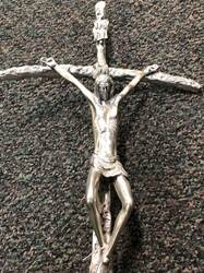 Silver Oxidized JPII Processional Crucifix with Base Processional cross, Processional crucifix, JPII cross, St John Paul, Saint John Paul II, silver processional cross