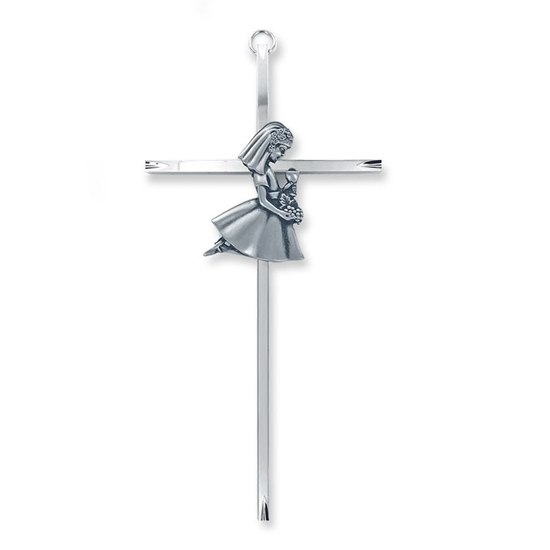Silver Plated First Communion Girl Wall Cross