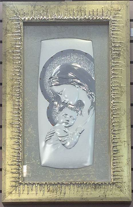 Silver Plated Picture Of Mary And Jesus