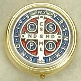 Silver Plated St Benedict Pyx Enameled- Small 2 Inches