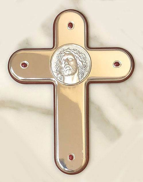 Silver Wall Cross with Head of Christ, from Italy