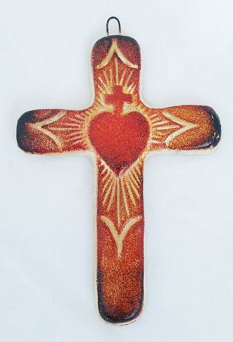 Small Clay Sacred Heart Cross from Mexico