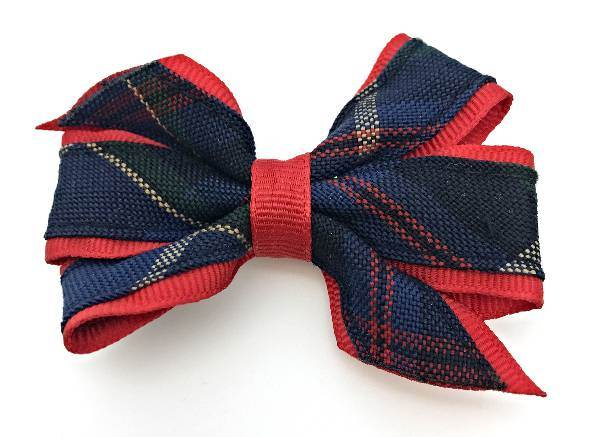 Small Clip Bow, #93 Plaid