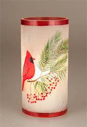 Small Crackle Glass Cardinal Hurricane