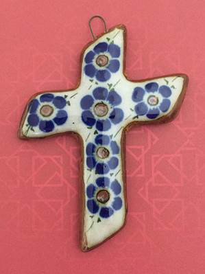 Small Hand Painted Glazed Ceramic Cross with Flowers (Angle) from Mexico