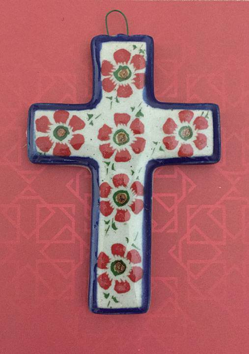 Small Hand Painted Glazed Ceramic Cross with Flowers (Straight) from Mexico