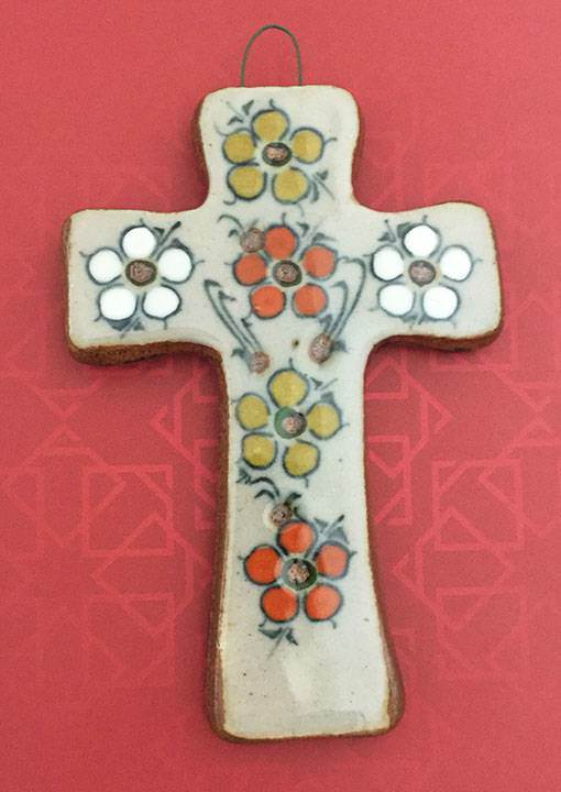 Small Hand Painted Glazed Ceramic Cross with Flowers from Mexico