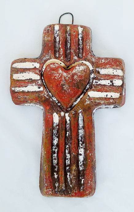 Small Rustic Clay Cross with Heart from Mexico