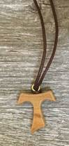Small Tau Cross On Brown Cord Necklace