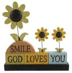 Smile God Loves You Blocks with Sunflowers