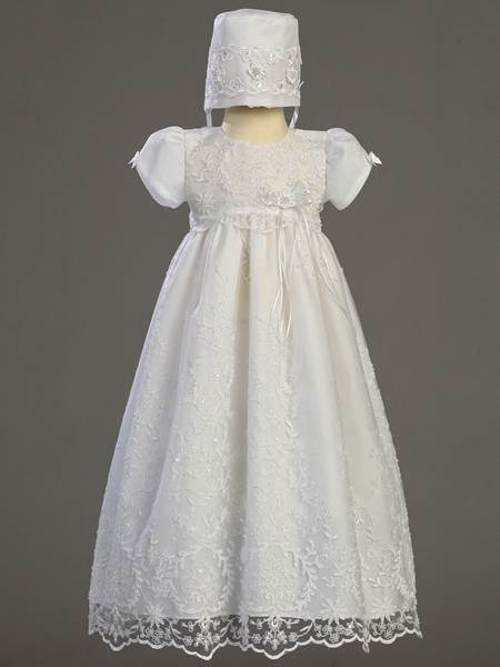 'Sofia' Embroidered Tulle Christening Gown