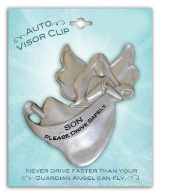 Son Please Drive Safely Angel Visor Clip
