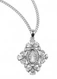 "Sterling Silver Miraculous Medal with Cubic Zircons on 18"" Chain"