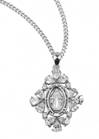 "Miraculous Sterling Silver Medal with Cubic Zircons on 18"" Chain"