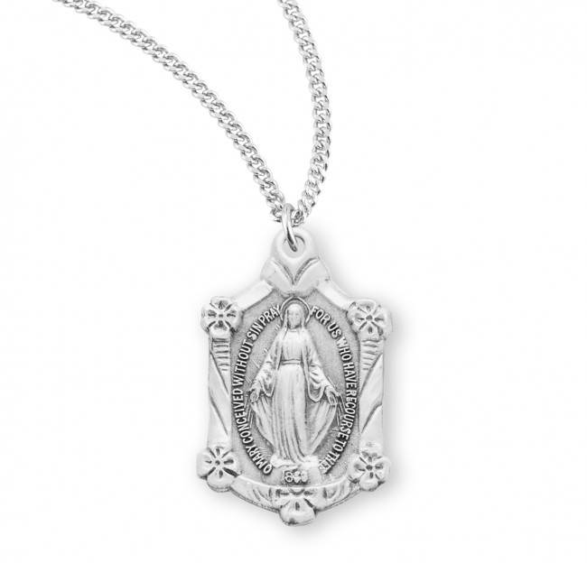Sterling Silver Miraculous Medal with Flowers