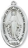 "Sterling Silver Miraculous Medal on 24"" Chain"