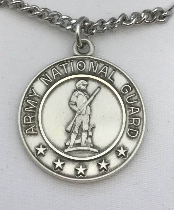 "St. Christopher Sterling Silver Army National Guard Medal on 24"" Chain military medal, round medal, sterling silver medal, army national guard, st christopher medal, JC-349/1MFT"
