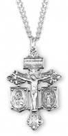 "Sterling Silver Pierced Crucifix with Miraculous and Scapular on 20"" Chain"
