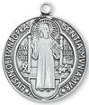 "St. Benedict Sterling Silver Medal on 24"" Chain"