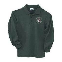 St. Ambrose Hunter Green Pique Polo Shirt, Long Sleeve