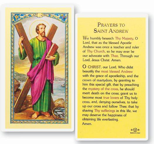 St. Andrew Laminated Prayer Card
