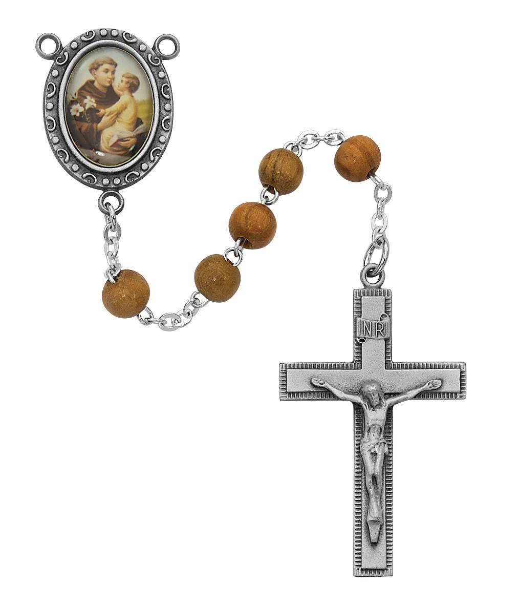 St. Anthony Blonde Wood Bead Rosary with St. Anthony Centerpiece Pewter Crucifix & Center