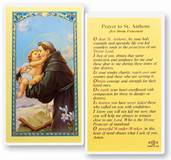 Prayers to Saint Anthony (For Divine Protection)  Clear, laminated Italian holy cards with gold accents. Features World Famous Fratelli-Bonella Artwork. 2.5 X 4.5