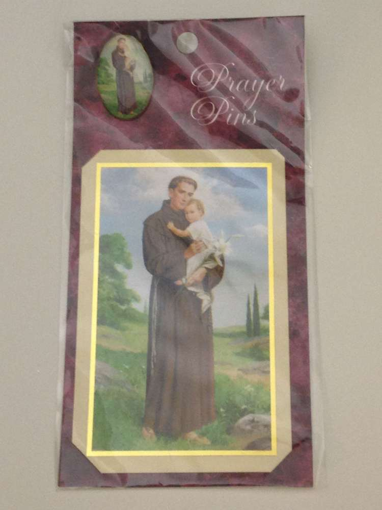 St. Anthony Prayer Card and Lapel Pin