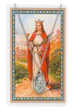 St. Barbara Pewter Medal and Holy Card Set