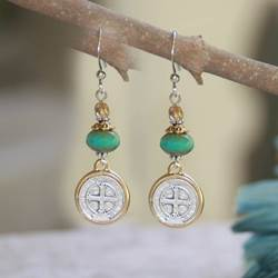St. Benedict Earrings st benedict earrings, sacramental earrings, confirmation gift, special occasion gift, in-37, medjugorje