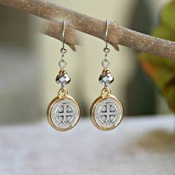 St. Benedict Earrings st benedict earrings, sacramental earrings, confirmation gift, special occasion gift, in-40, medjugorje