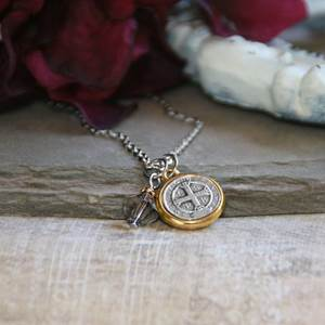 St. Benedict Necklace with Swarovski Crystal