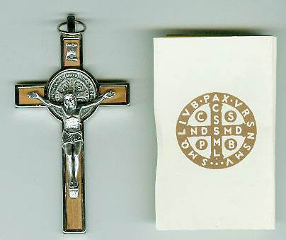 St Benedict Olive Wood Crucifix medjugorje, st benedict crucifix, light brown, italian made, necklace, rosary crucifix, 10199
