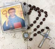 St. Benedict Rosary with Brown Wooden Beads