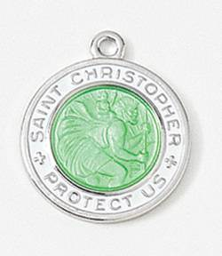 St. Christopher Medal Green/ White