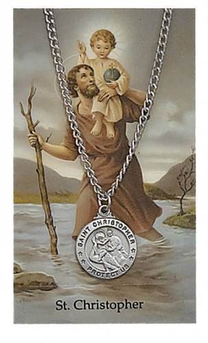 St. Christopher Pendant and Laminated Holy Card