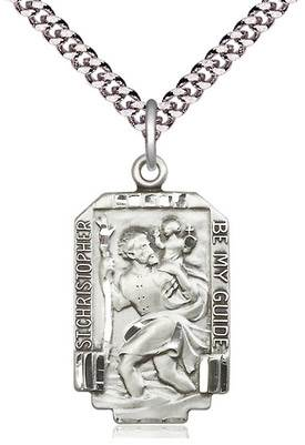 "St. Christopher Rectangular Medal on 24"" Chain"