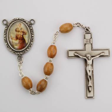 St Christopher Rosary Blonde Wood Bead St Christopher Center
